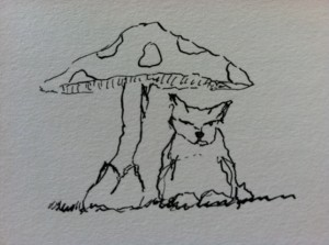 Small creature sitting under a mushroom, wet and cold